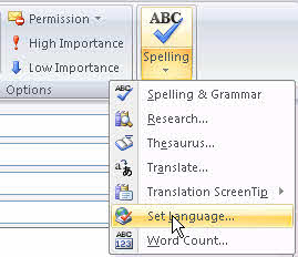 word how to change language in spellcheck